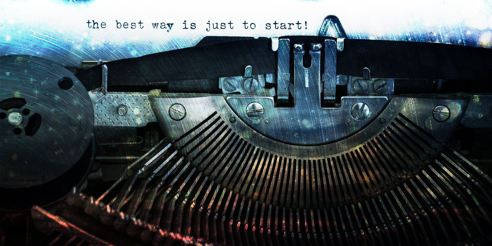 Managing your Maturing Website of old typewriter with words typed on the paper - the best way is just to start.