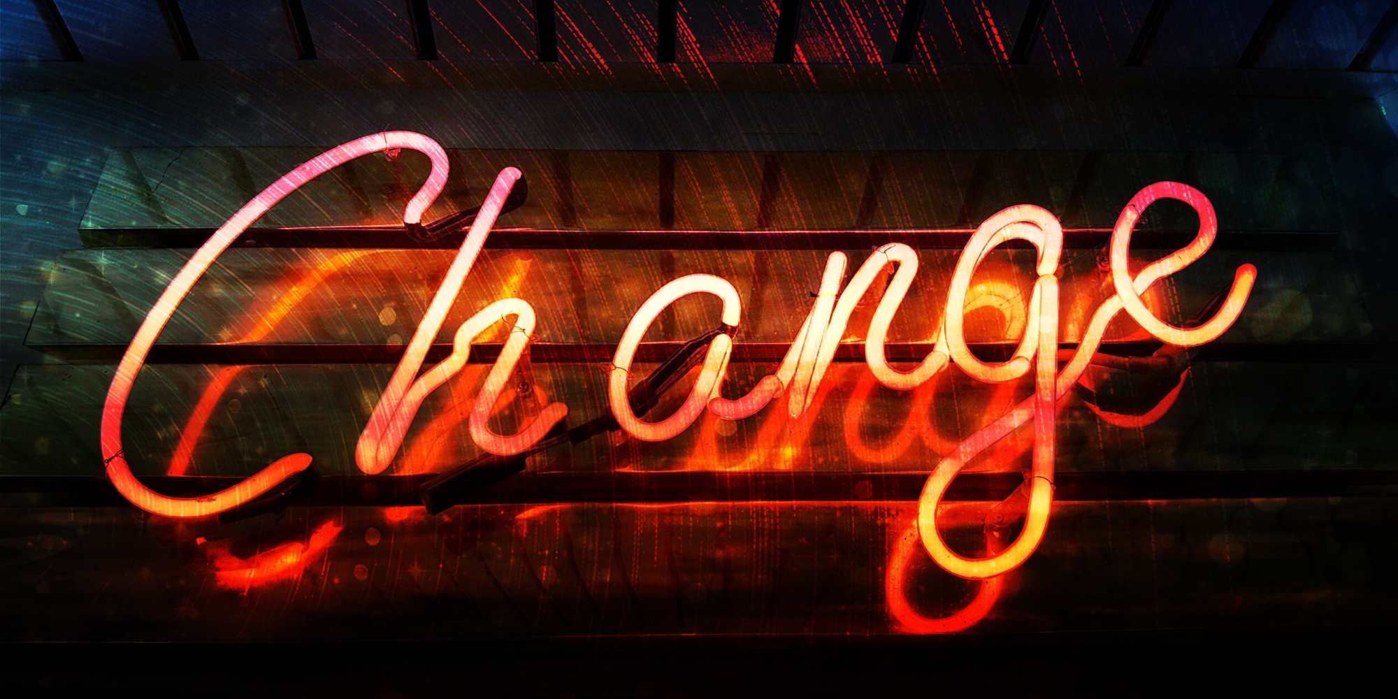 Website Change is Good Blog Banner image of Neon Sign with the word change