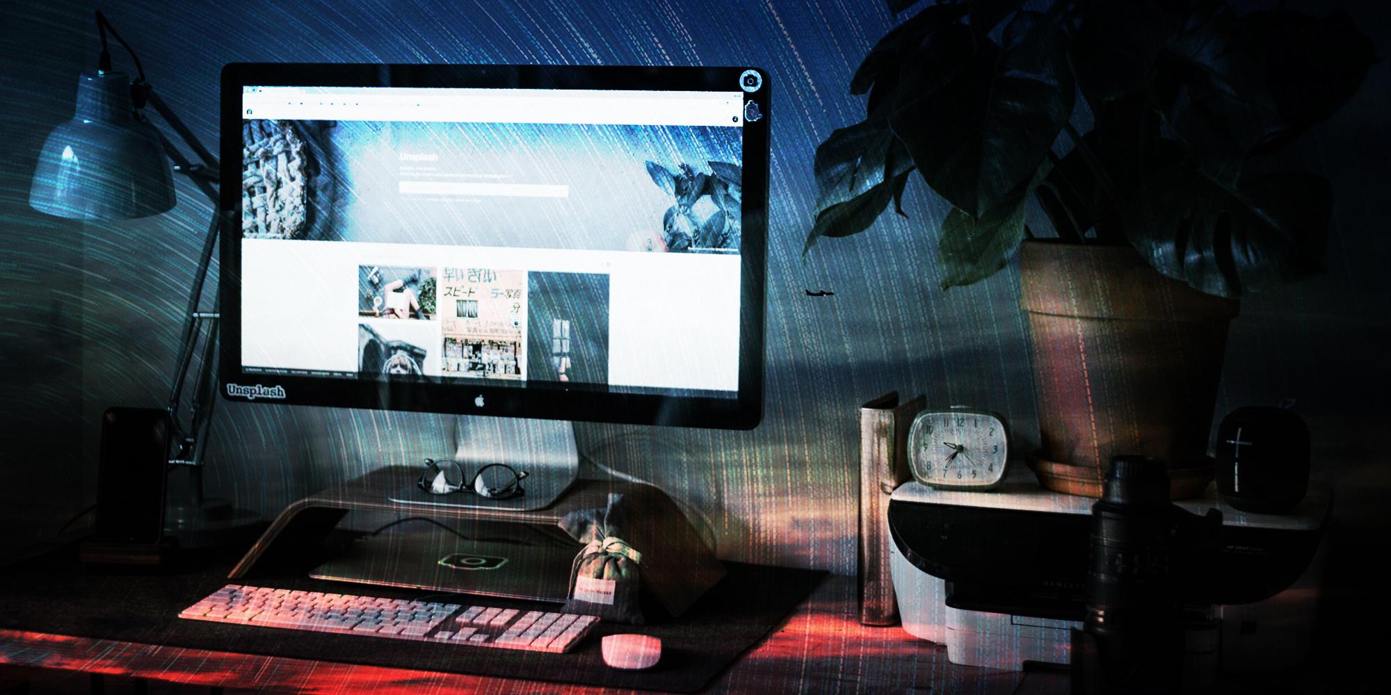 7 Tips on Working Remotely blog banner of home office desktop